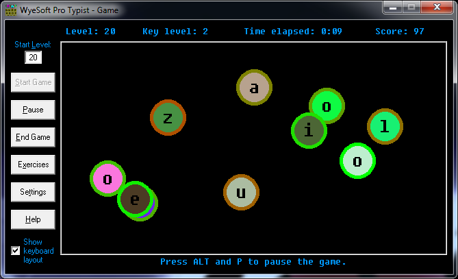 Screenshot of Game on WyeSoft Pro Typist v2.10