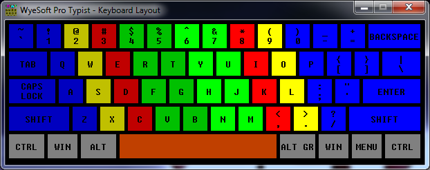 Screenshot of Keyboard Layout on WyeSoft Pro Typist v2.10